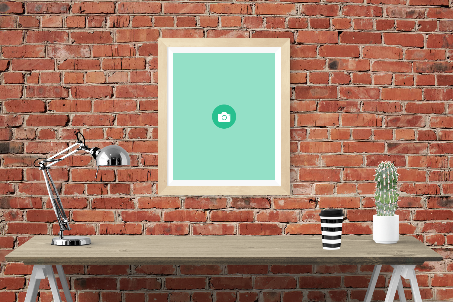 Free Light Wood Frame on a Brick Wall Mockup