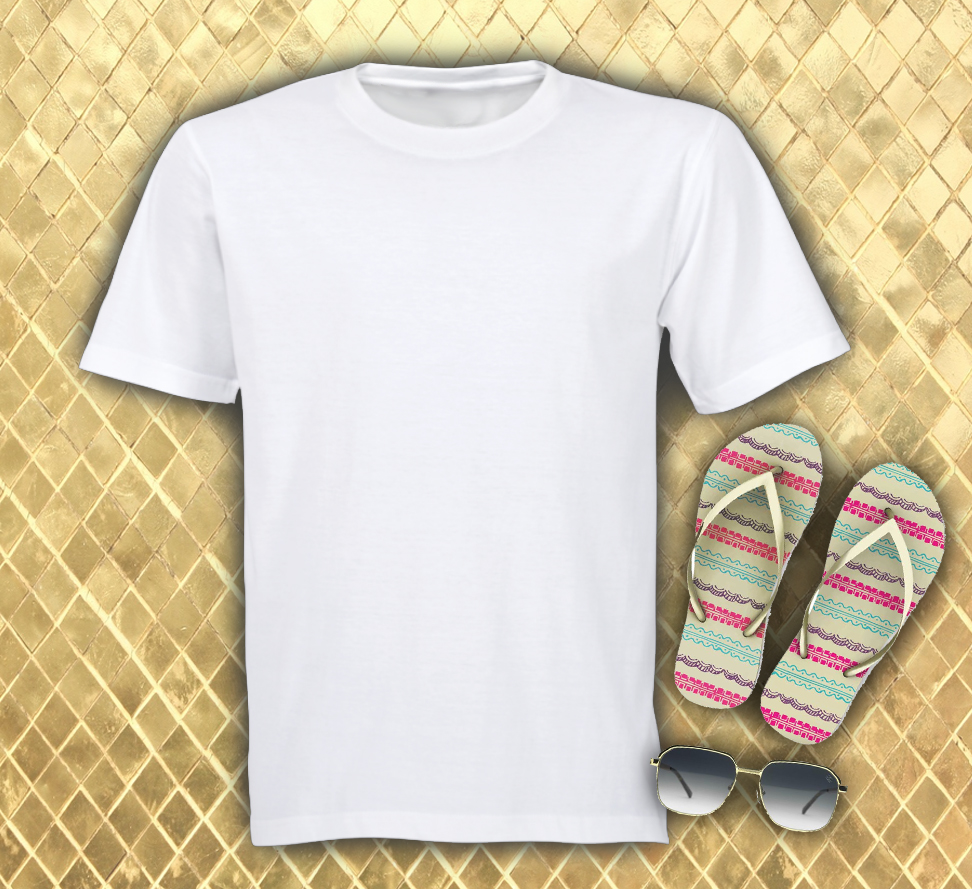 Free T Shirt with Ladies Flip Flops Mock up