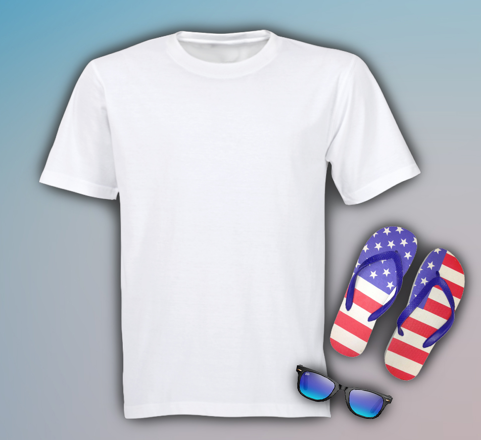 Free Mens T Shirt with Flip Flops Mockup