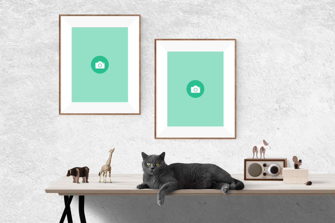 Free 2 Frames with Cat Mockup