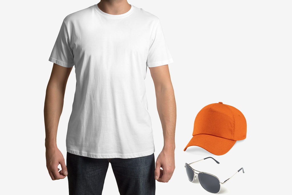 Free Mens T Shirt with Cap and Glasses Mockup