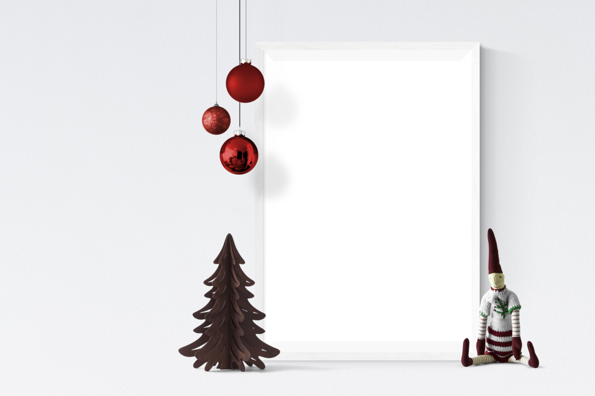 Free Single Christmas Frame with Baubles Mockup