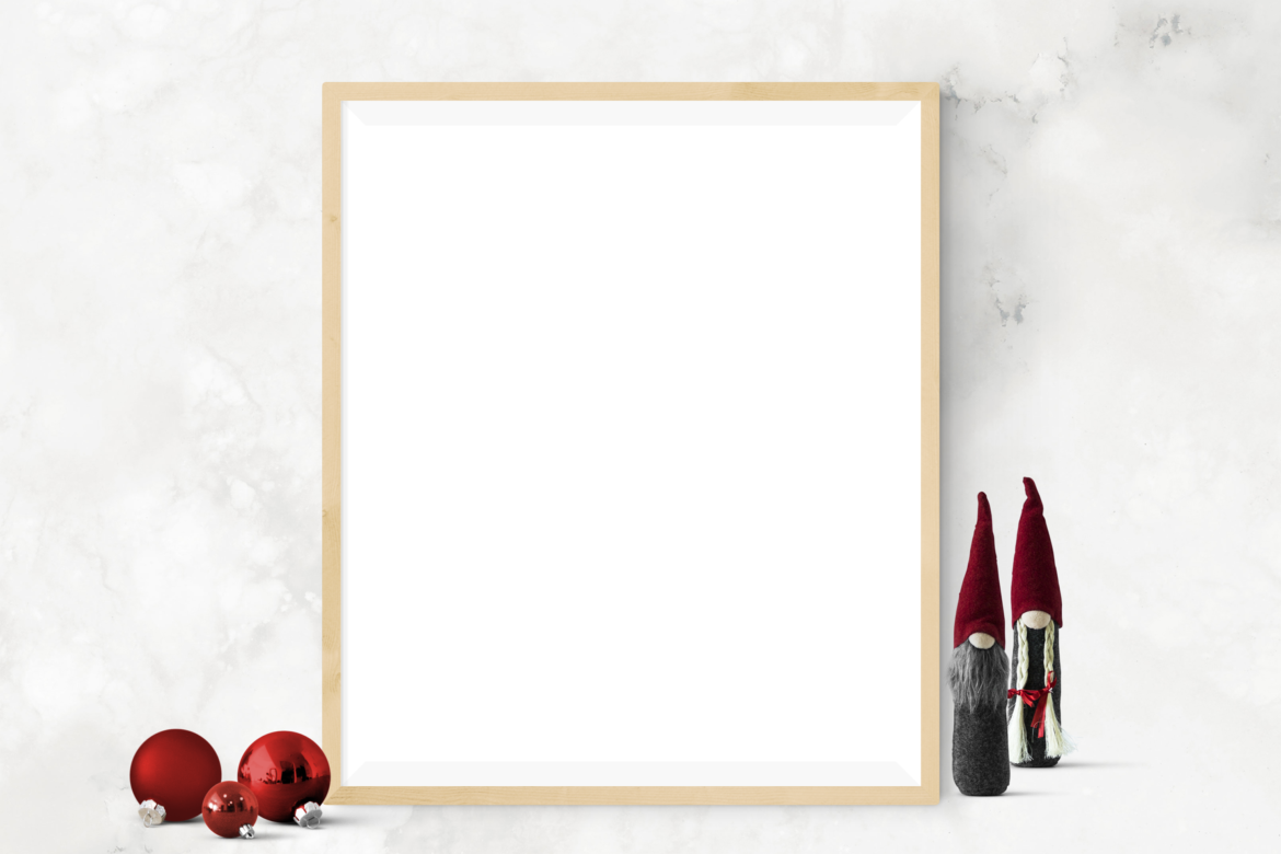 Free Single Christmas Frame with Gonks Mockup