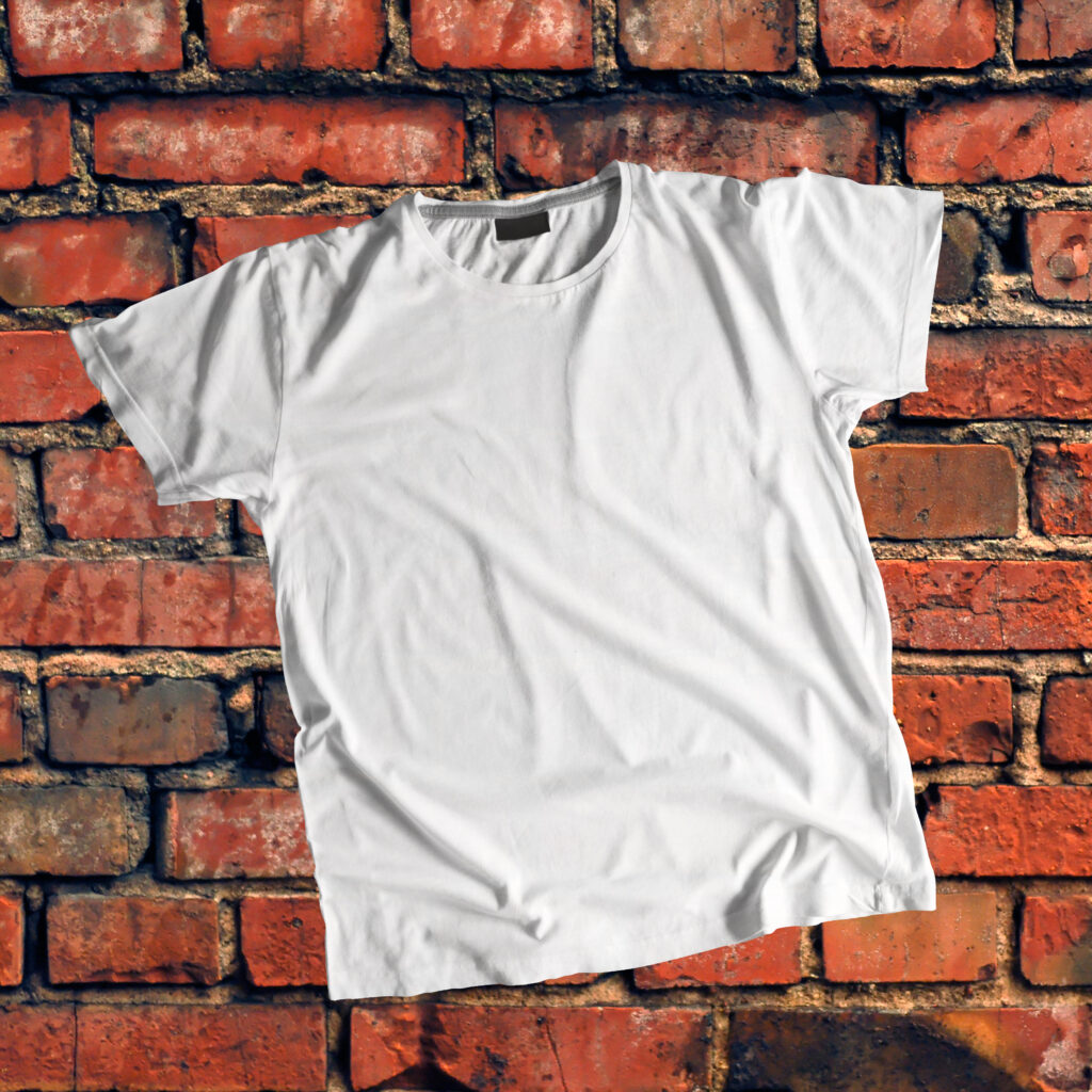 Free T Shirt against brick wall Mockup