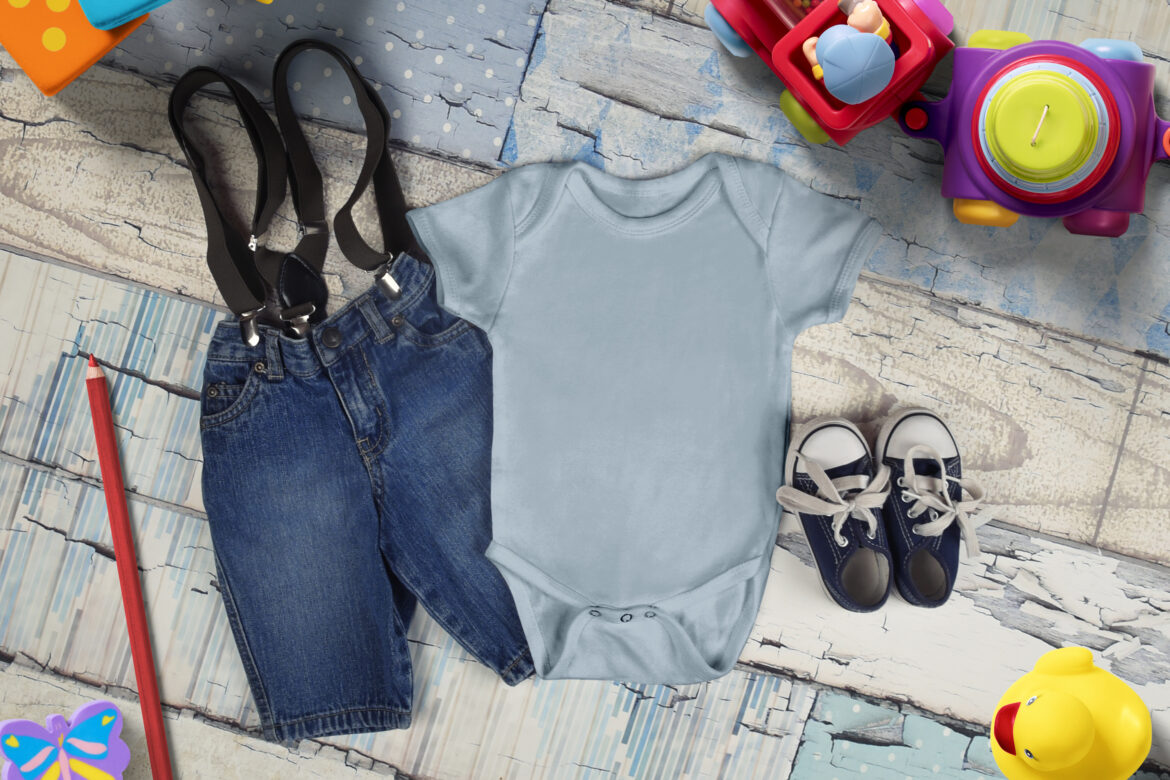 Free Baby Grow in Blue Mockup