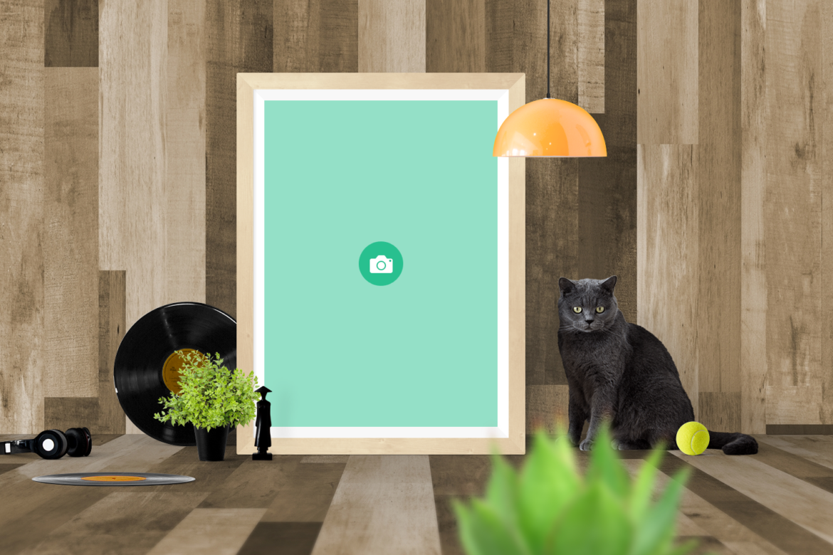 Free Cat and Frame Mockup